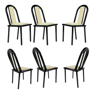 Set of 6 Postmodern Italian Black Lacquered Dining Chairs From Maurice Villency For Sale