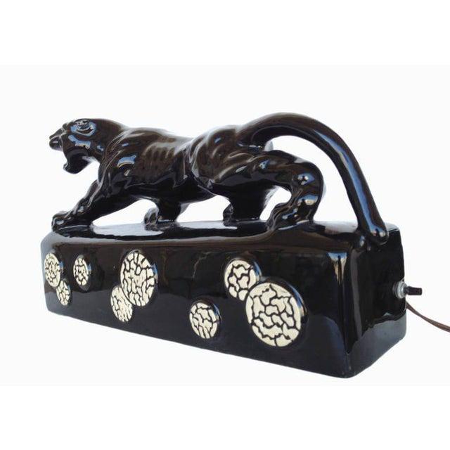 "Black Ceramic ""Sportsman Panther"" TV Lamp by Kron, 1955 - Image 3 of 8"