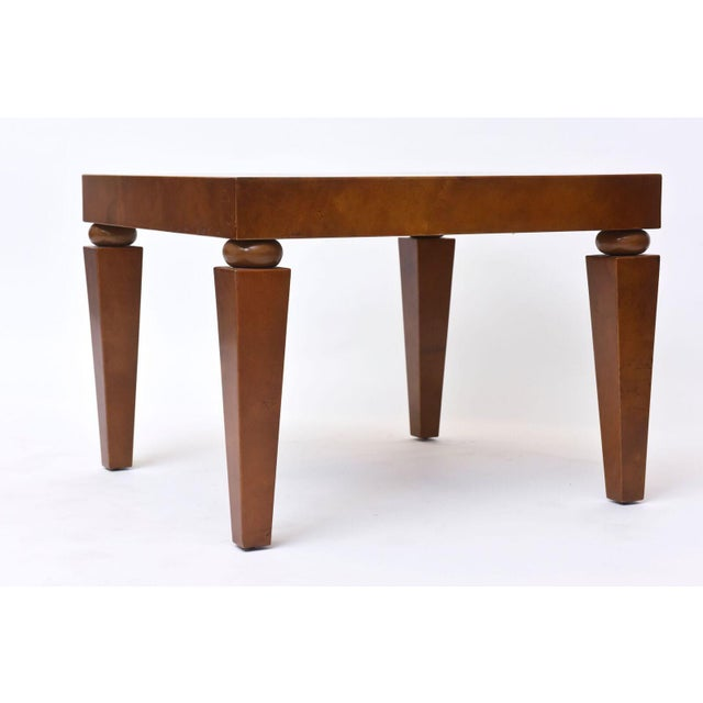 "Brown American Modern ""Goatskin"" Occasional Table, Karl Springer For Sale - Image 8 of 10"
