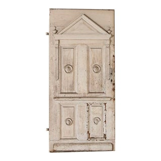 Antique Original Painted White Door With Carved Accents For Sale