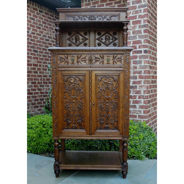 Antique French Oak 19th Century Renaissance Revival Gothic Vestry Sacristy Wine Altar Cabinet Bookcase For Sale - Image 10 of 13
