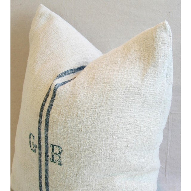 Blue Stripe French Grain Sack Down & Feather Pillow - Image 5 of 6
