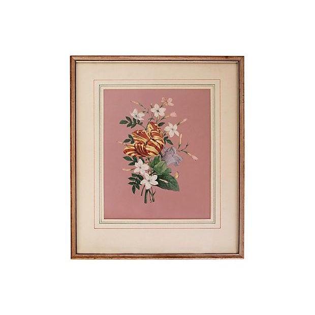 Vintage 1940s Pink Floral Bouquet Botanicals - Pair - Image 4 of 5