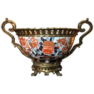 Japanese Giant Imari Export Porcelain Bowl With French Bronze Ormolu Mount For Sale