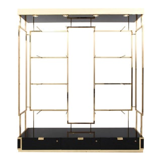 Black Lacquered and Brass Étagère Display Unit