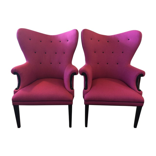 Vintage Hot Pink Wingback Chair - One Left! For Sale