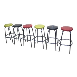 Mid-Century Multicolored Bar Stools - Set of 6 For Sale