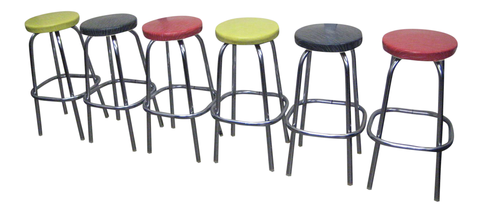 Mid Century Multicolored Bar Stools   Set Of 6