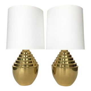 1970s Brass Stepped Modern Urn-Form Table Lamps - a Pair