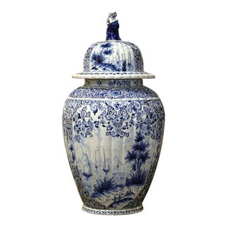 18th Century French Blue and White Delft Faience Jar Vase With Lid For Sale