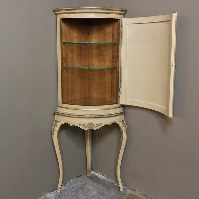Early 20th Century Antique Italian Baroque Painted Corner Cabinet For Sale - Image 5 of 12