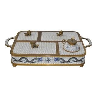 Blue & White Cloisonne Enameled Desk Set