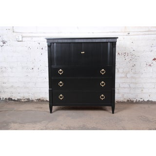 Baker Furniture French Regency Ebonized Tambour Door Gentleman's Chest, Newly Refinished Preview