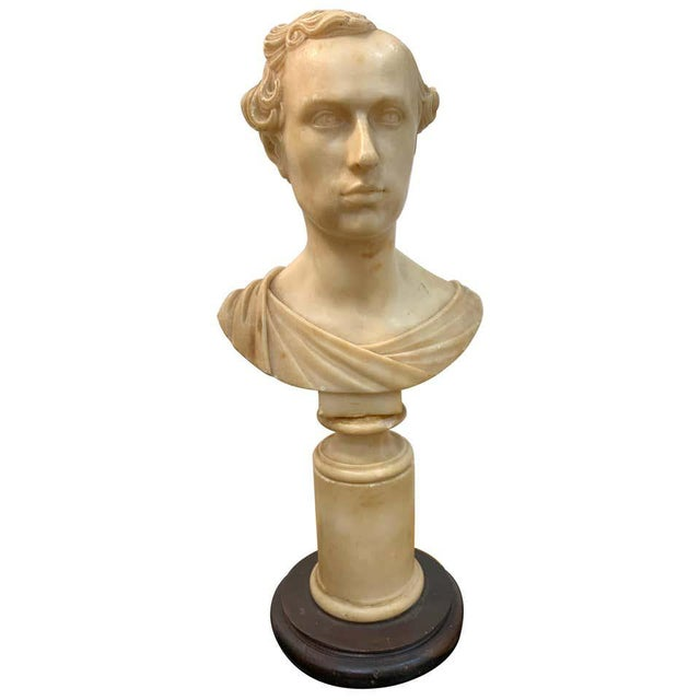 Italian Neoclassical Alabaster Portrait Bust of a Gentleman, by Insom Fece, 1839 For Sale - Image 12 of 12