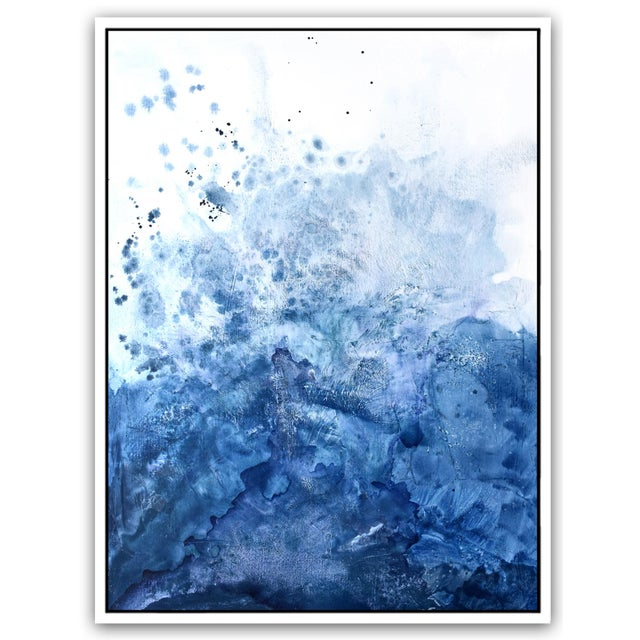 Abstract Watercolor Blue Salt Painting - 40 52 For Sale - Image 3 of 6