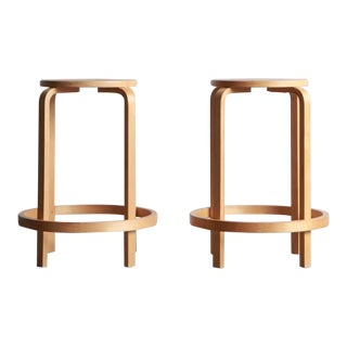 1980s Vintage Aalto Style Bentwood Stools - a Pair For Sale