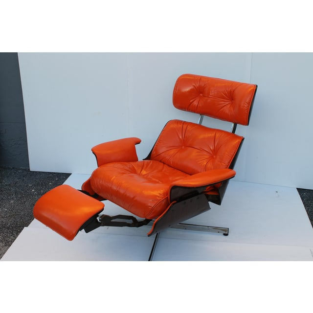 Mid-Century Modern Orange Leather Recliner - Image 9 of 11