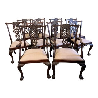 English Centennial Chippendale Mahogany Chairs - Set of 10 For Sale
