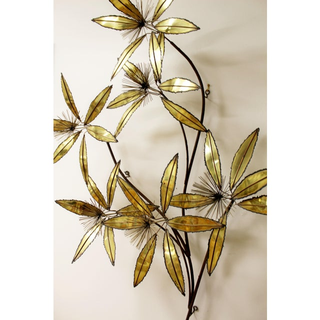 Brass Contemporary Modern Rare Curtis Jere Brass Wall Sculpture Flowers Pom Pom For Sale - Image 7 of 9