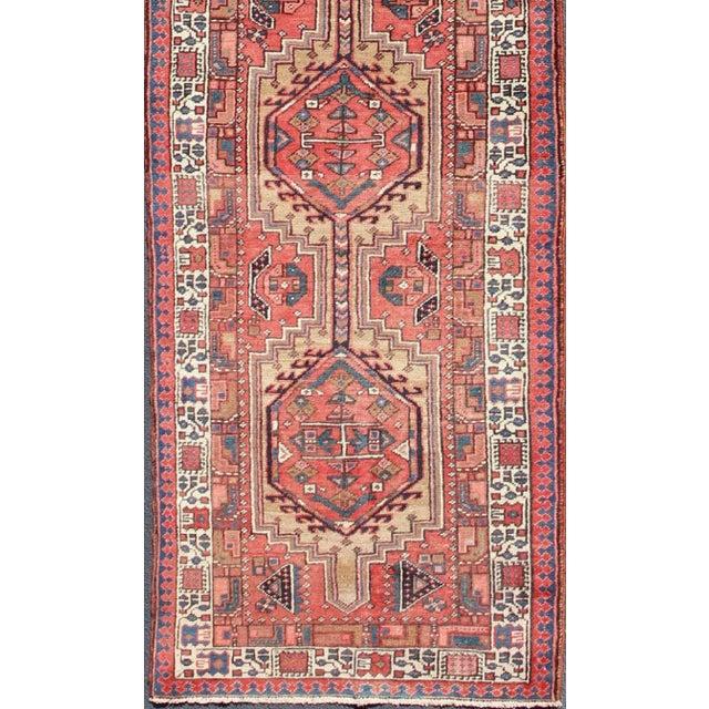 Geometric Medallion Design Multi-Colored Vintage Karadjeh Runner, rug h-407-1, Karadjeh, circa 1950. This mid-20th...