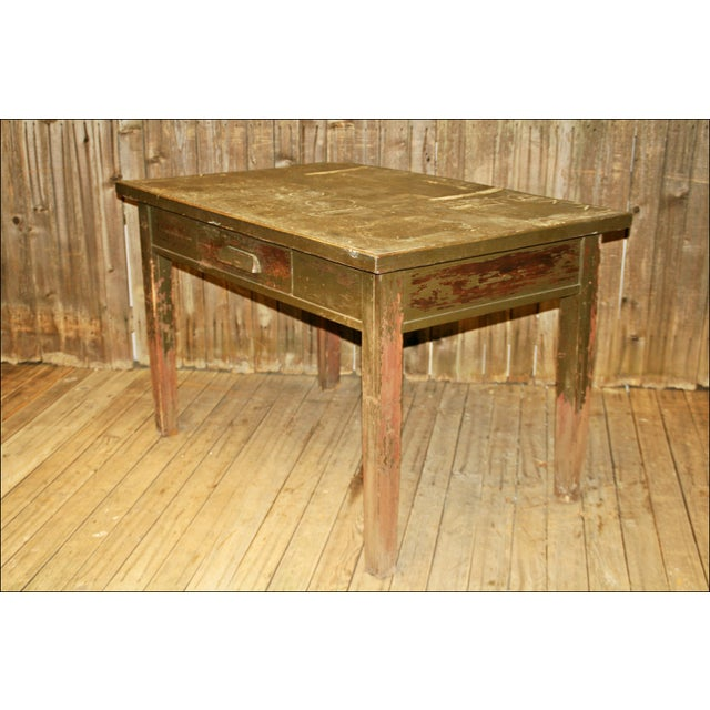 Vintage Industrial Wood Library Table - Image 3 of 11