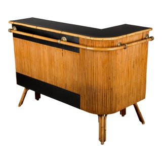 Vintage Mid-Century French Riviera Bamboo & Rattan Bar For Sale