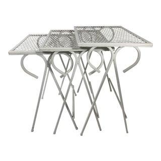 1950s Mid Century Modern Maurizio Tempestini Wrought Iron Salterini Nesting Side Tables - Set of 3 For Sale