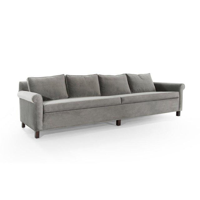 Edward Wormley for Dunbar Model 580 Velvet Sofa For Sale In New York - Image 6 of 11