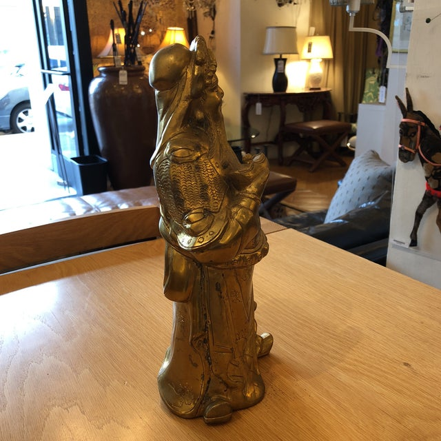 Asian Brass Chinese God of Wealth Sculpture For Sale - Image 3 of 9