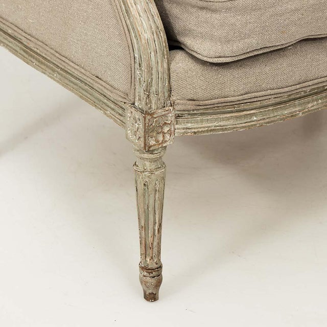 Wood French Louis XVI Style Marquise Loveseat in Natural Linen For Sale - Image 7 of 13