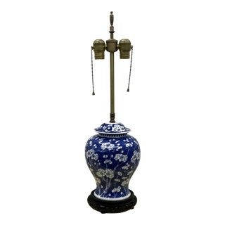 19th Century Chinese Blue and White Baluster Jar Mounted Lamp For Sale