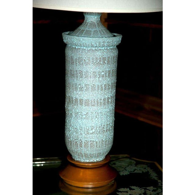 """1960s Vintage Pale Blue """"Lava"""" Ceramic Lamp For Sale In New York - Image 6 of 22"""