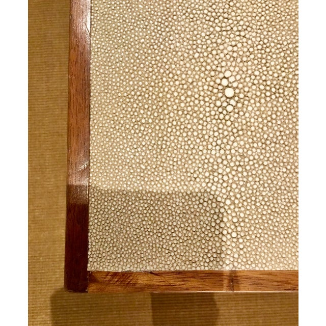 Faux Shagreen Nightstand With Walnut Trim For Sale - Image 4 of 6