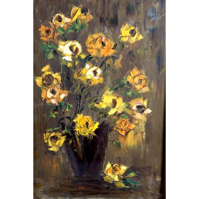 Mid-Century Palette Knife Floral Painting - Image 3 of 10