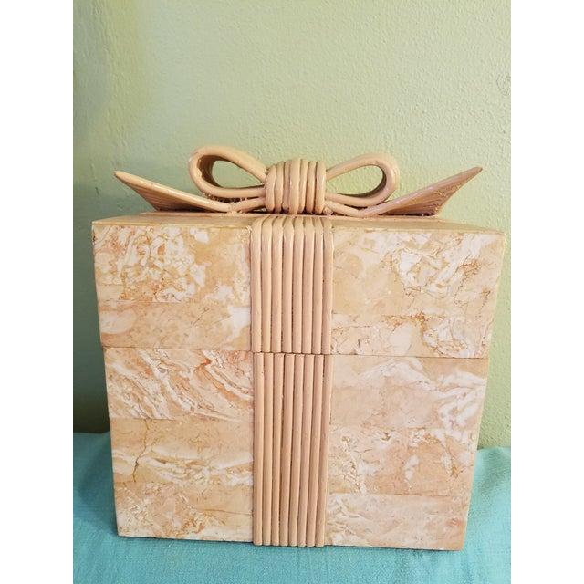 Wood Vintage Coral Stone Veneer Ribboned Box For Sale - Image 7 of 7