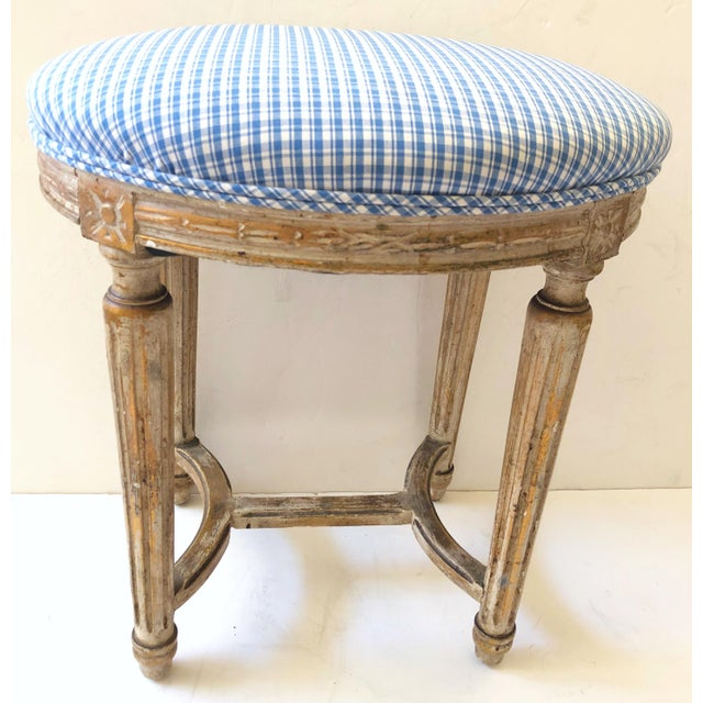19th C. French Gilt Wood Stool For Sale - Image 4 of 4