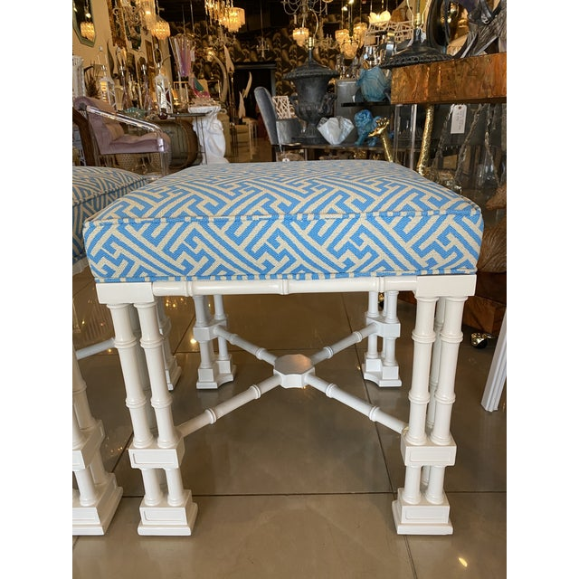 Asian Vintage Palm Beach Faux Bamboo Blue & White Lacquered Greek Key Upholstered Benches Stools -A Pair For Sale - Image 3 of 13