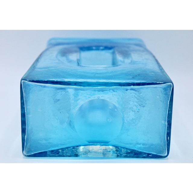 Large Mid Century Modern Aqua Blue Rectangular Glass Vase For Sale - Image 10 of 13