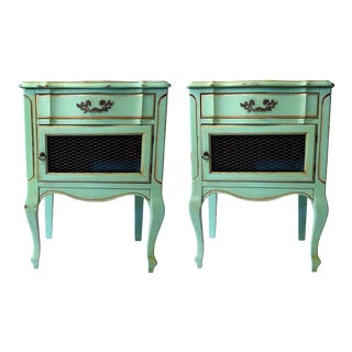 Mid-Century French Provincial Turquoise Nightstands - a Pair For Sale
