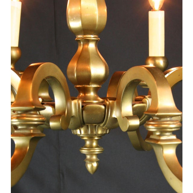 Vintage 1950 French Brass 8-Arm Chandelier - Image 5 of 7