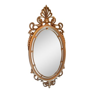 Mid Century Modern Syroco Hollywood Regency Gold Tone Oval Mirror For Sale