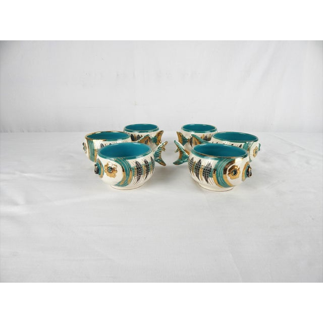 Mid 20th Century Rare Bitossi Fish Cups, S/6 For Sale - Image 5 of 11