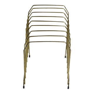 1970s Mid-Century Modern Gold Metal Wire File Holder For Sale