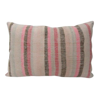 Turkish Pink & Tan Kilim Pillow For Sale