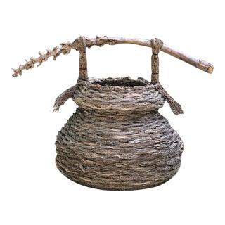 Vintage Artisan Made Woven Twig Basket For Sale