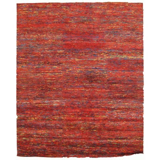 Red Sari-Silk Modern Rug - 10' X 14' For Sale