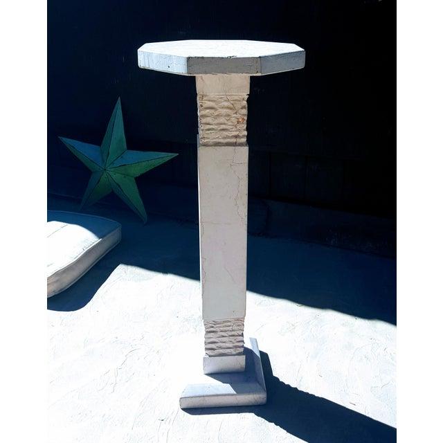 Modern Botticino Italian Marble Pedestal For Sale - Image 4 of 5