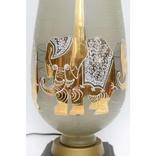 Waylande Gregory Mid Century Modern Glass and Gold Table Lamp W. Elephants Under Palms. 1950s For Sale - Image 4 of 6