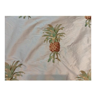 Vervain Embroidered Pineapples Silk Fabric - 3 Yards