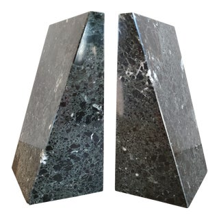 Vintage Geometric Marble Bookends, a Pair For Sale